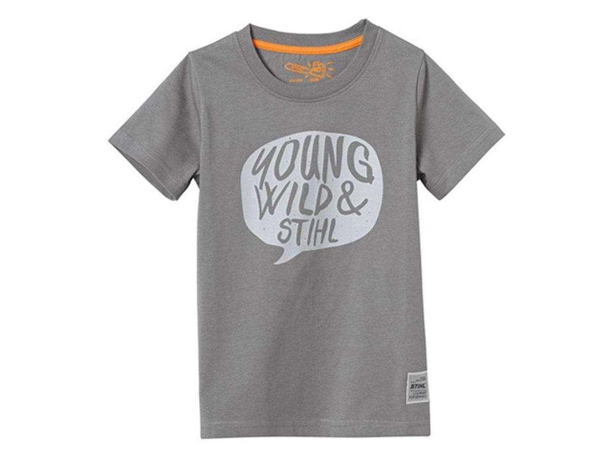 t shirt young wild grigio chiaro stihl